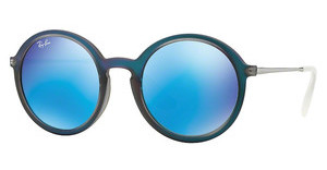 Ray-Ban RB4222 617055 LIGHT GREEN MIRROR BLUESHOT BLUE RUBBER